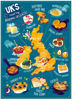 a close up of many plates of food: Premier Inn Regional Food Map Bedfordshire Clanger, Scottish Dishes, Food Map, Mars Bar, Great British Food, Pictorial Maps, Road Trip Uk, British Cake, Soup Kitchen
