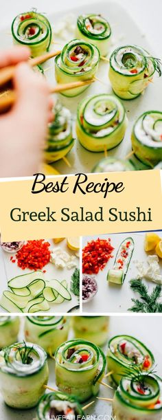 Were making Mediterranean-inspired Greek Sushi rolls that take everything good about Greek salad and wrap it up into a delicious sushi rolls! This easy vegetarian sushi recipe is full of flavor quick to make and mess-less. Vegetarian Sushi Recipes, Quick Vegetarian Meals, Easy Salad Recipes, Easy Salads, Mediterranean Vegetarian Recipes, Vegetarian Salad, Vegetarian Appetizers, Dishes Recipes, Veg Recipes