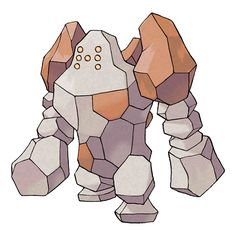 Regirock - 377 - Its entire body is made of rock. If any part chips off in battle, it attaches rocks to repair itself.  The same rocks that form its body have been found in ground layers around the world.