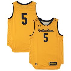 eea36b1b9  5 Cal Bears Under Armour Youth Replica Basketball Jersey – Gold