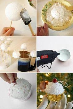 Leuke cup cake voor in de kerstboom