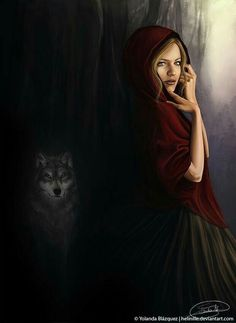 I hope the wolf won't eat her. Little Red Riding Hood Red Riding Hood Wolf, Little Red Ridding Hood, Big Bad Wolf, Red Hood, Conte, Fantasy Art, Fairy Tales, Aurora Sleeping Beauty, Artwork