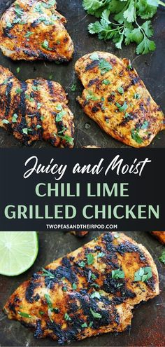 This easy grilling recipe is a summer favorite! Chili Lime Grilled Chicken is moist juicy and full of incredible flavor. Make weeknight meals more special with a delicious dish everyone will love! Add this to your dinner menu ideas this summer! Summer Chicken Recipes, Grilled Chicken Recipes, Summer Recipes, Baked Chicken, Summer Dinner Party Menu, Dinner Menu, Dinner Recipes, Summer Menu Ideas, Dinner Ideas