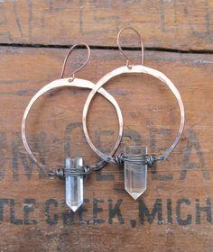 Hoop Earrings with Quartz Crystal Points Ombre by daniellerosebean