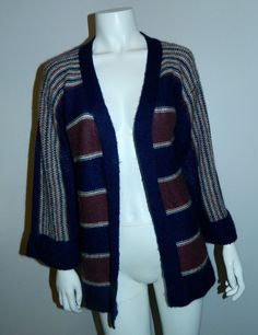 Because Fall! vintage 1970s cardigan sweater / blue striped open front knit / 70s HIPPIE bell sleeves S - M by retrotrend on Etsy