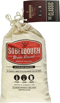 Choose your favorite beer to make your own unique beer bread with this fun and easy to use mix . Soberdough - The Classic - Beer Bread Mix - 18 oz bag with 100% all-natural ingredients that makes one loaf of delicious beer bread. Vegan, these mixes do not contain dairy, soy, oil or nuts. Can be made with any type of beer or non-alcoholic carbonated substitute. Ideal hostess gift, stocking stuffer or for anyone else on your list. #Christmas #StockingStuffer