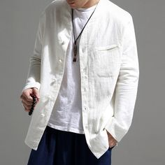 TWO-SIDED Mens National Style Retro Solid Color Stand Collar Long Sleeve Loose Fashion Casual Shirt is designer and cheap on Newchic. Loose Shirts, Henley Shirts, Casual T Shirts, Printed Shirts, Long Sleeve Shirts, Men Shirts, Collar Designs, Mens Fashion, Sleeves