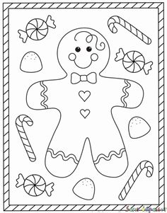 Free Christmas coloring pages – gingerbread man coloring sheets – gingerbread boy Make your world more colorful with free printable coloring pages from italks. Our free coloring pages for adults and kids. Preschool Christmas, Christmas Activities, Christmas Crafts For Kids, Christmas Colors, Christmas Art, Holiday Crafts, Vintage Christmas, Christmas Jokes, Christmas Pictures