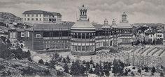 Rest-och-Nya-Hotellet-Styrsö-Hafsbad-vykort - Nya Restaurangen 1902 med Turisthotellet i bakgrunden. Till höger Edith Johnsons Konditori och Café med Biljardsalong på platsen för senare uppförda Bergstöms kondis (Arbores hus).