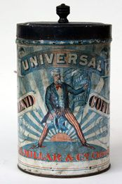 *UNCLE SAM COFFEE CAN TIN ~  w/ one foot on Philipine Island + one foot on Cuba. Universal Blend Coffee, E.B. MILLAR + Co. Chicago