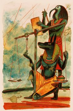 Gods Anubis/Anpu and Thoth/Djehuti weigh the Heart of the deceased against a feather in the Court of God Osiris/Ausar.  (Picture source: Das alte Ägypten by Christian Heinrich)