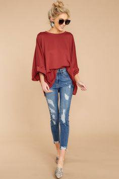 bfaaeb8bb0be Comfort Calls Marsala Red Top. Red Top OutfitRed Dress ...