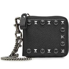 Valentino Leather Coin Purse (156.530 HUF) ❤ liked on Polyvore featuring bags, wallets, black, change purse wallet, chain coin pouch, valentino bag, leather chain wallet and coin purse wallets