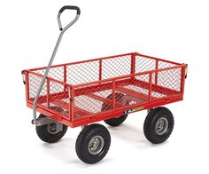 AmazonSmile : Gorilla Carts Steel Utility Cart with Removable Sides with a Capacity of 800 lb, Red : Patio, Lawn & Garden
