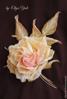 Цветы из ткани. Роза Shalimar - цветок из ткани,цветы из шелка,цветок из шелка
