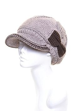 AN Womens Beige Beanie Hat Wool with Bow Cozy Fleece Lining Winter cf0bf53d13