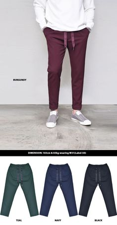 Designer S/S Banding Slacks-Pants 269 by.Guylook.com   Light-weight cotton rayon span blends with great flexibility Absolutely flattering slim pattern Elastic banding waist with big drawcord Modern & sleek cross-trend look & works great with various tops Strongly recommended must-have urban bo