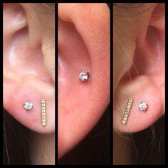 3 nye øre piercinger med fine prong sat cz krystaller fra USA 😍 Mere af det i dag 11-18 ❤️🙏🏾
