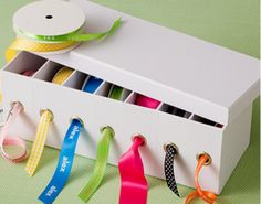 Dica de organização para artesanato – Faça você mesmo – Caixa organizadora de fitas