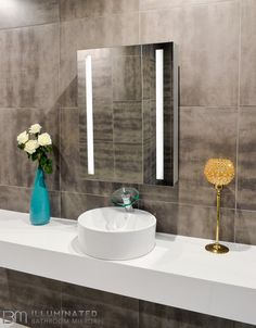 Lighted Bathroom Mirror Verano with sensor switch and demister pad. Size: x x inches Backlit Bathroom Mirror, Lighted Wall Mirror, Bathroom Mirror Cabinet, Led Mirror, Mirror Cabinets, Mirror With Lights, Bathroom Cabinets, Bath Mirrors, Electric Mirror