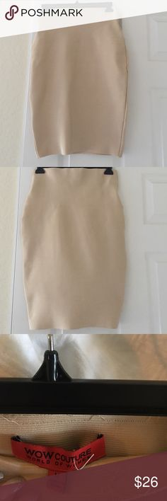 Pencil skirt Gold pencil skirt. Size medium. Bought at a boutique in Wellington. In great used condition. Only flaw is some of the inside seam on top of the dress is coming loose (see pic 3). Easy repair. However, it is still perfectly wearable without fix. Great material. Skirts Pencil
