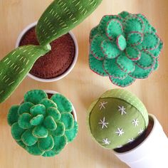 """Potted, plush plants - by far, the easiest to care for. Felt Diy, Felt Crafts, Crafts To Make, Fabric Crafts, Sewing Crafts, Sewing Projects, Craft Projects, Arts And Crafts, Diy Crafts"