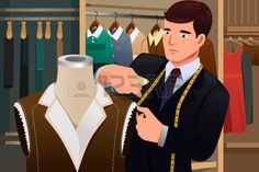 A vector illustration of tailor adjusting clothes on a mannequin