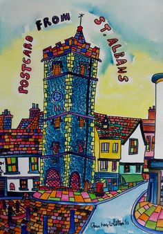 ORIGINAL WATERCOLOUR AND INK PAINTING POSTCARD FROM ST ALBANS CLOCK TOWER