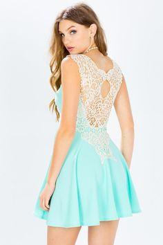 Crochet Back Flare Dress