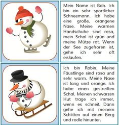 Hier sind noch Lesekarten mit Schneemännern, diesmal mit etwas mehr Text. :-) MATERIAL - Lesekarten Schneemänner