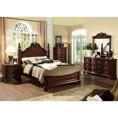 Furniture Of America Ambrosio Formal 4-piece Dark Cherry Bedroom Set