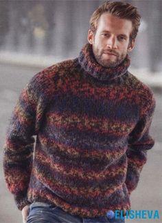 Мужской свитер с рукавами реглан, вязаный спицами