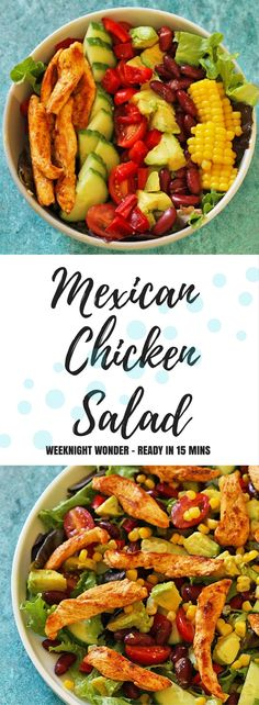 Mexican Chicken Salad, filled with avocado, red kidney beans and corn.