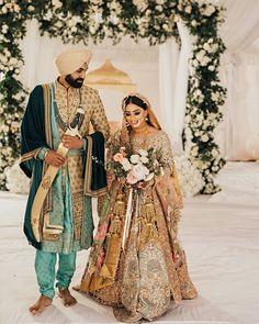 This Gorgeous Vancouver Wedding Has My Heart Today - Gorgeous gold heavy embroidered Ali Xeeshan wedding lehenga. Indian Wedding Poses, Sikh Wedding, Indian Wedding Photography, Indian Wedding Outfits, Punjabi Wedding, Gothic Wedding, Wedding Couples, Wedding Dresses, Indian Bridal