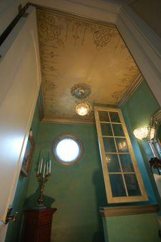 bathroom: stencil ceiling by Fabulous Finishes Inc. Modello Ceiling, Swarovski Crystals, Metallic Glazed Trim Powder Room