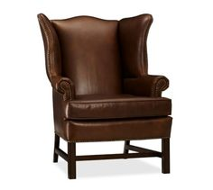 "FAMILY ROOM. Thatcher Leather Wingback Chair. 30.5"" w x 34.25"" d x 40.25"" h. Cognac. $1299 x 2."