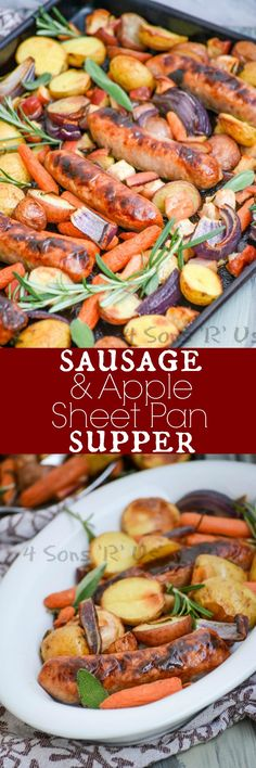This Sausage, Apple, And Herb Sheet Pan Supper is a quick and easy blend of savory and sweet, baked together on a single pan. What's not to love about a meal that leaves only one dish to wash up after (Kilbasa Sausage Recipes) One Pan Meals, Quick Meals, Pork Recipes, Cooking Recipes, Hot Sausage Recipes, Bratwurst Recipes, Recipe Sheets, Sheet Pan Suppers, One Pan Dinner
