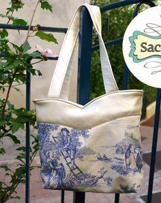 """Sac d'après le patron """"Annie"""" par Camille en simili et toile de Jouy #couture #sac #bag #sewing"""