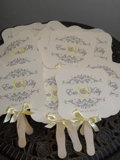 wedding fan yellow ribbon