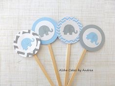 Blue and Gray Elephant Baby Shower, Elephant Cupcake Toppers, Birthday Party Cupcake Sticks, Set of 12