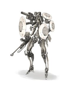 Mech sketch by Dunhuang Chen on ArtStation. Dunhuang, Chen, Kai, Character Art, Character Design, Metal Gear, Illustration Sketches, Sci Fi Fantasy, Cool Drawings