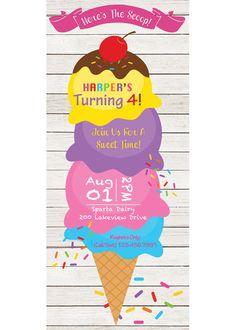 Ice Cream Invitation Ice Cream Birthday Ice Cream Party by Quax