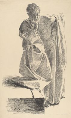 thunderstruck9: John Singer Sargent (American, 1856–1925), Study of a Young Man in a Robe, Standing, 1895. Transfer lithograph. National Gallery of Art, Washington, D.C. via kecobe