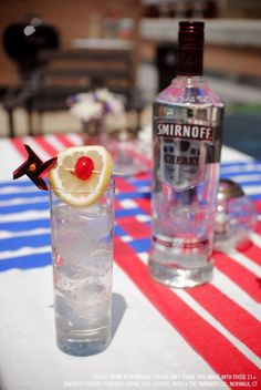 Smirnoff Cherry Flavored Vodka and Tonic drink recipe with 1.5 oz Smirnoff Cherry Flavored Vodka and 3 oz tonic water. Build in a tall glass, stir and garnish with a cherry and a lemon. #Smirnoff #drink #recipe #cherry #July4 #FourthofJuly