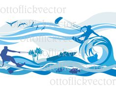 WATER SPORT VECTOR clipart, digital sport background, banner eps, ai, cdr, png, jpg, tropical sea, kitesurfing, waterskiing, summer leisure by ottoflickvector on Etsy