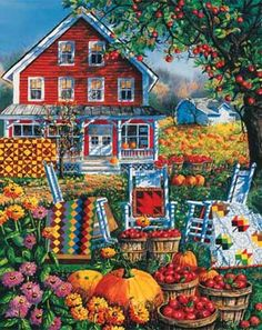White Mountain Puzzles - Autumn Quilts with Thicker Pieces. Colorful Autumn Scene with a Farm House and Fruits and Quilts along with an apple tree and flowers. Arte Country, Autumn Scenes, Fall Quilts, Down On The Farm, House Flags, Naive Art, Autumn Art, Fall Halloween, Folk Art