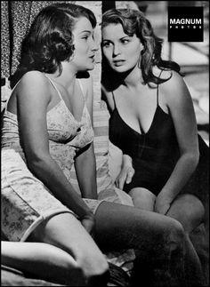 "American actress Doris DOWLING and Italian actress Silvana MANGANO in the film ""Bitter Rice"" by Giuseppe De SANTIS. 1950//Robert Capa"