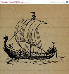 50 OFF SALE Viking Ship No.KM921  Digital Image by GraphicDreamz, £1.00