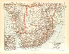 1905 Original Antique Map of South Africa Cape Colony South