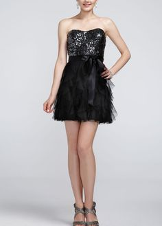 Strapless Dress with Sequin and Ribbon Detail - David's Bridal- mobile